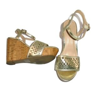 BCBGeneration Gold Cork Wedge Sandals 8.5 Platform